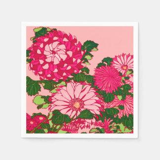 Serviette Jetable Frontière de fleur, fuchsia et rose japonais de