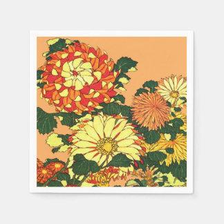 Serviette Jetable Frontière de fleur, mandarine et or japonais
