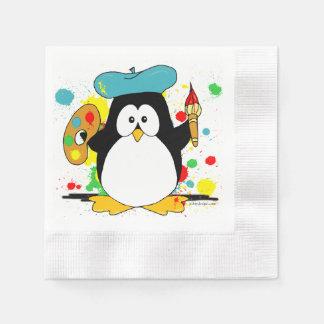 Serviette Jetable Graphique artistique de peintre de pingouin