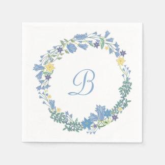 Serviette Jetable Guirlande florale bleue de Bells épousant les