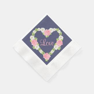 Serviette Jetable Guirlande florale de coeur de Valentine