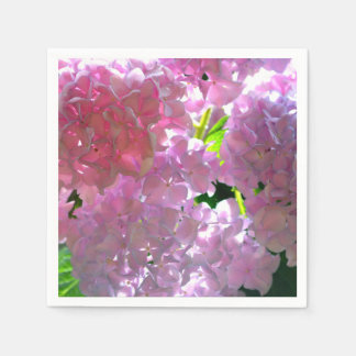 Serviette Jetable Hortensias roses rayonnants