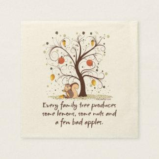 Serviette Jetable Humour d'arbre généalogique