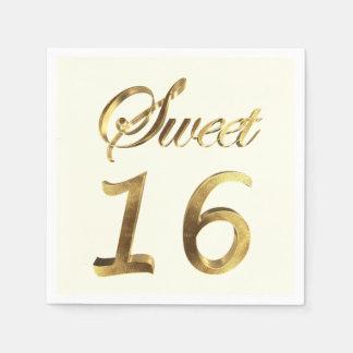 Serviette Jetable Ivoire de typographie de regard d'or du bonbon 16