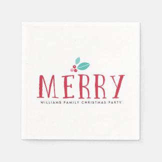 Serviette Jetable Joyeux Noël de baies de houx