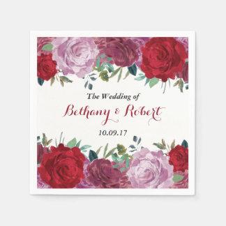 Serviette Jetable La collection florale romantique de mariage