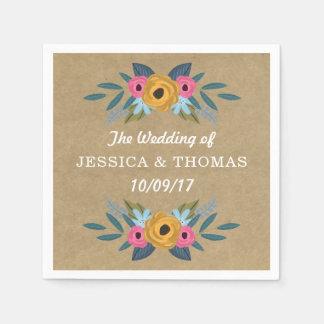 Serviette Jetable La collection florale rustique de mariage de