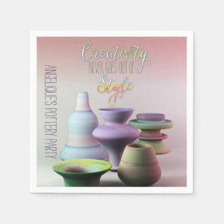 Serviette Jetable La créativité de poterie d'aquarelle ne sort