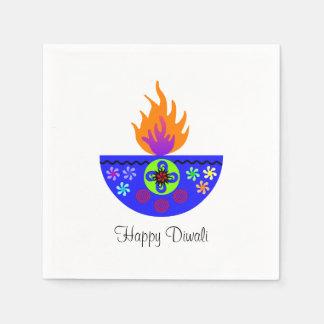 Serviette Jetable Lampe colorée Diya de Diwali