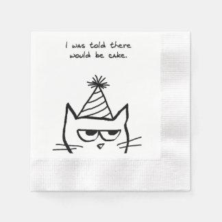 Serviette Jetable Le chat fâché déteste des anniversaires