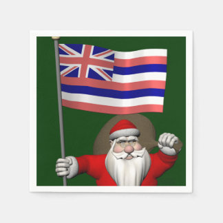 Serviette Jetable Le père noël avec le drapeau d'Hawaï