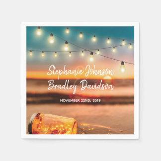 Serviette Jetable Le pot de maçon tropical de plage de coucher du