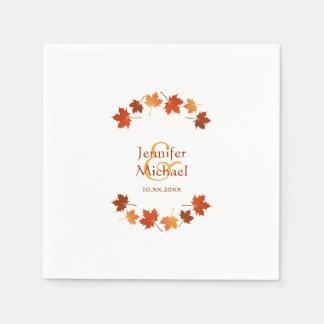 Serviette Jetable l'érable d'automne part du mariage de automne