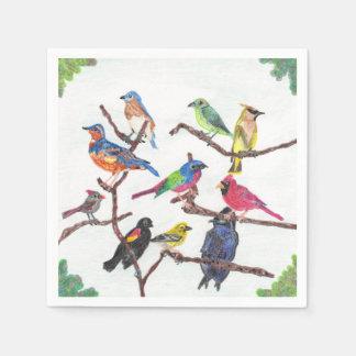 Serviette Jetable Les oiseaux chanteurs colorés de rassemblement