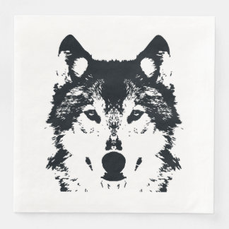 Serviette Jetable Loup noir d'illustration