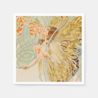 Serviette Jetable Madame Art Nouveau Vintage de papillon