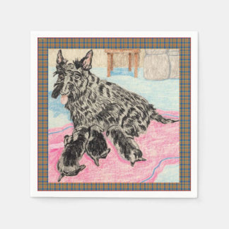 Serviette Jetable Maman et chiots de Scottie