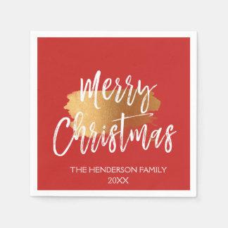 Serviette Jetable Manuscrit en lettres de main de Joyeux Noël avec