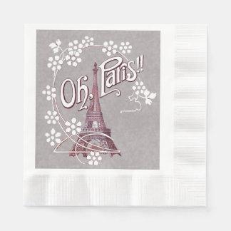 Serviette Jetable Marguerite vintage de Paris France de Tour Eiffel