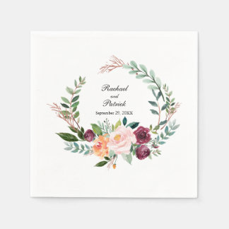Serviette Jetable Mariage floral de guirlande d'aquarelle d'automne