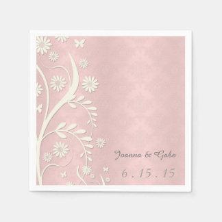 Serviette Jetable Mariage floral de marguerite blanche rose de