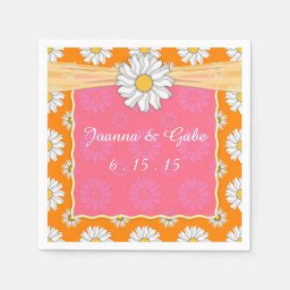 Serviette Jetable Mariage floral de marguerite rose orange de tango
