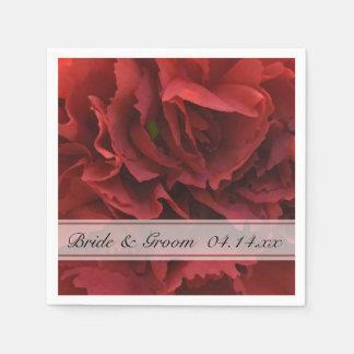 Serviette Jetable Mariage floral rouge