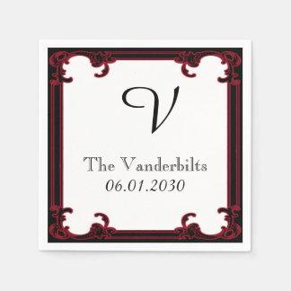 Serviette Jetable Mariage gothique rouge élégant de monogramme de
