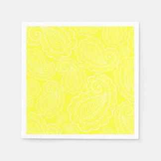 Serviette Jetable Mariage jaune chic de conception florale de