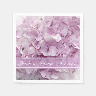 Serviette Jetable Mariage rose doux d'hortensia