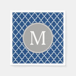 Serviette Jetable Monogramme de Quatrefoil de bleu marine et de gris
