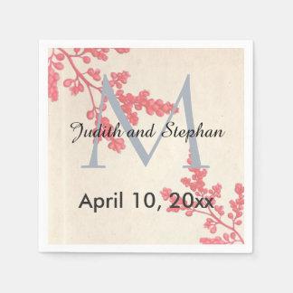 Serviette Jetable Monogramme floral et botanique rose vintage de