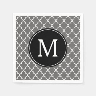 Serviette Jetable Monogramme gris et noir de coutume de Quatrefoil