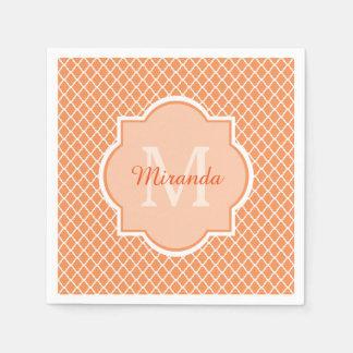 Serviette Jetable Monogramme orange élégant de Quatrefoil avec le