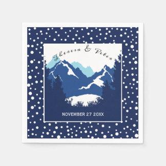 Serviette Jetable Montagnes bleues et blanches et épouser de pois