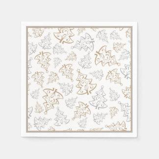Serviette Jetable Motif minimaliste d'arbre de Noël d'or et d'argent