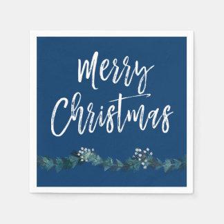 Serviette Jetable Noël de bleu de manuscrit de Joyeux Noël