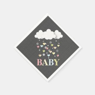 Serviette Jetable Nuages + Serviettes de baby shower de coeurs