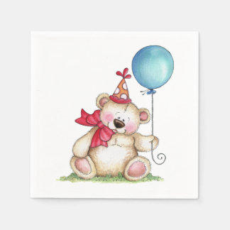 Serviette Jetable Ours Ballooon d'anniversaire