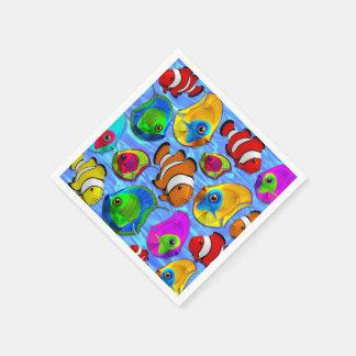 Serviette Jetable Paper_napkins tropicaux de motif de poissons