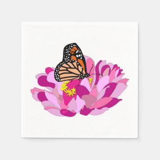 Serviette Jetable Papillon et fleur