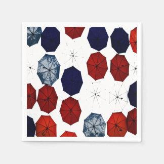 Serviette Jetable parapluies blancs bleus rouges de serviettes de