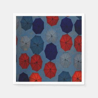 Serviette Jetable parapluies bleus rouges de serviettes de papier