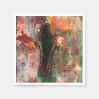 Serviette Jetable Peinture figurative gothique, art floral abstrait
