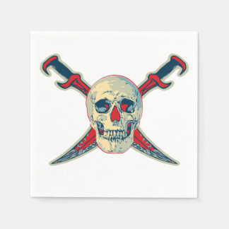 Serviette Jetable Pirate (crâne) - petit somme standard blanc de