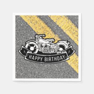 Serviette Jetable Portion de partie de joyeux anniversaire de motard