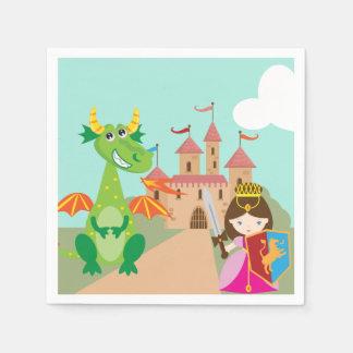 Serviette Jetable Princesse dans le château rose et le dragon de