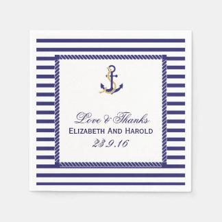 Serviette Jetable Rayures nautiques élégantes de marine de mariage