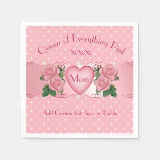 Serviette Jetable Reine de tout maman de rose