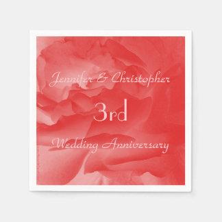Serviette Jetable Rose de corail élégant de rose, 3ème anniversaire